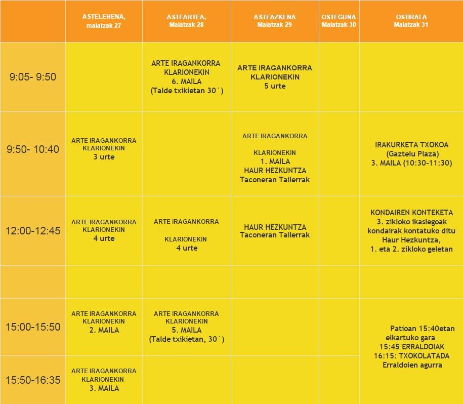 Kulturartekotasun astearen programa 2013