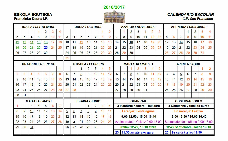 Calendario 2016-17 Egutegia